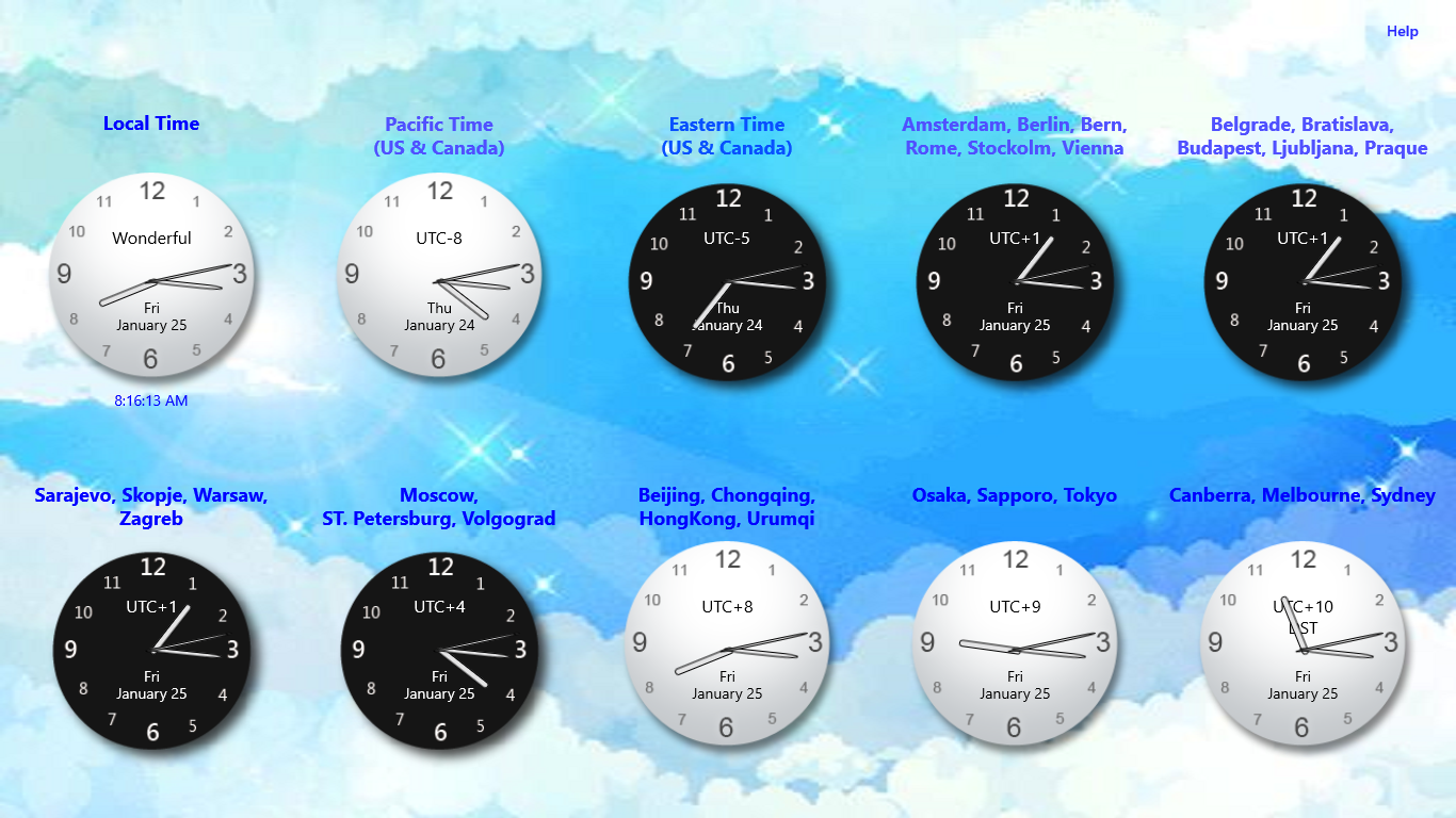Wonderful World Clock for Windows 8 [download] Move your mouse ...